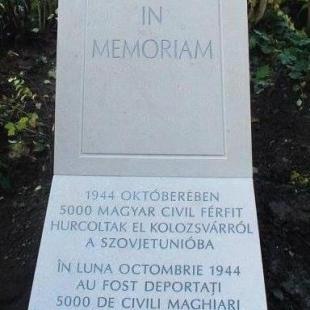 Emlékmű Kolozsváron - Az 1944 októberében a szovjetek által elhurcolt 5000 magyar emlékére