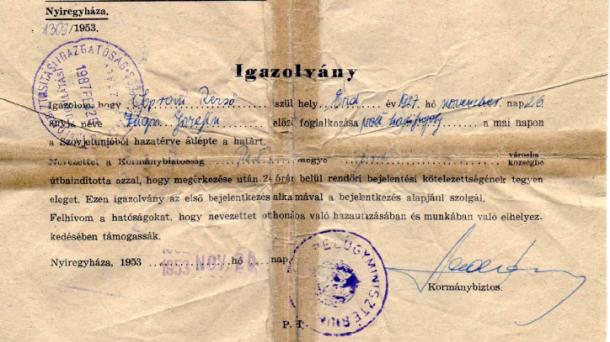 Soproni Rezső : Hazatérés